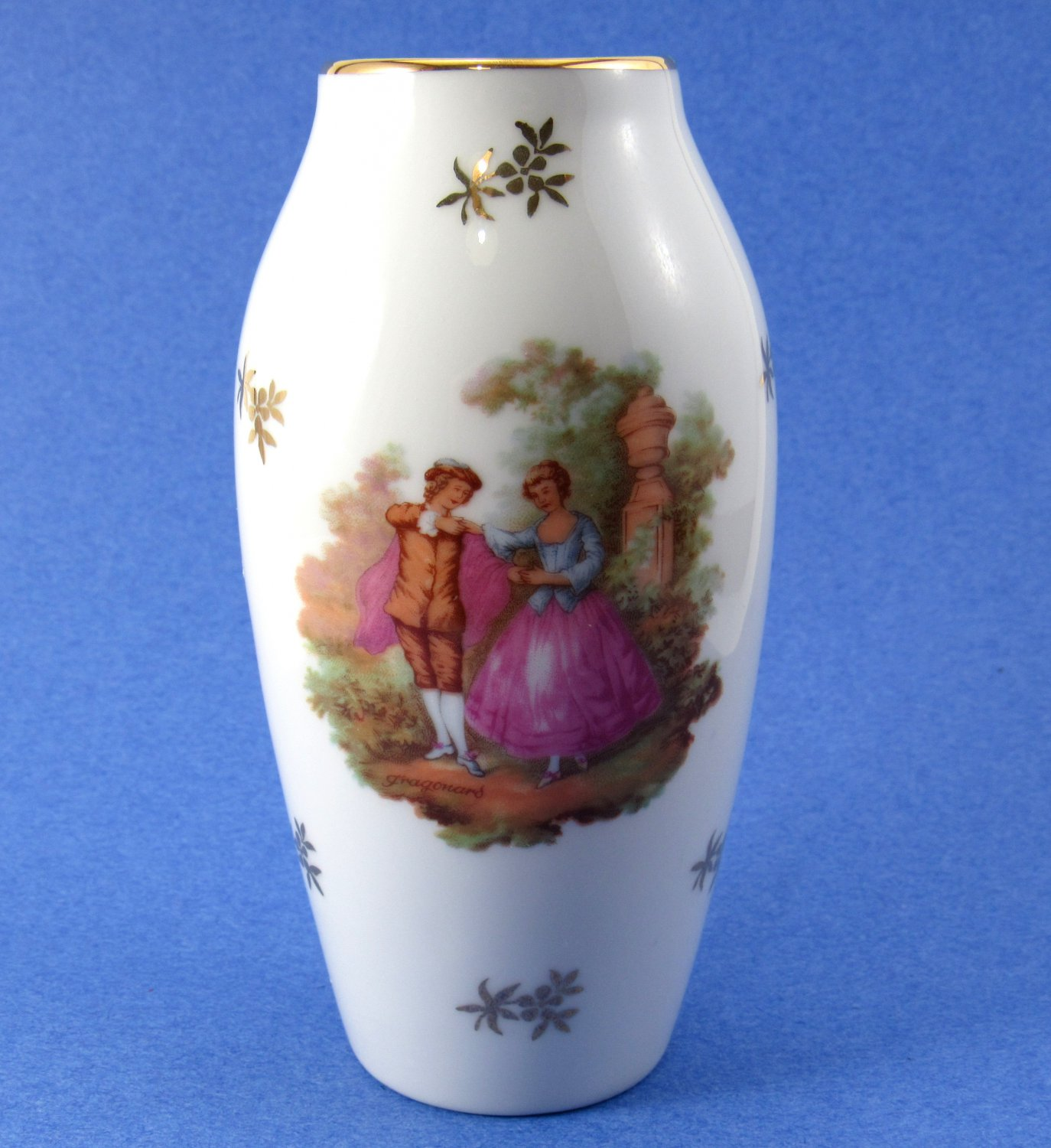 Bardet Limoges Gold Trim Victorian Courting Couple Miniature Vase White with Gold Accents 4 Inches