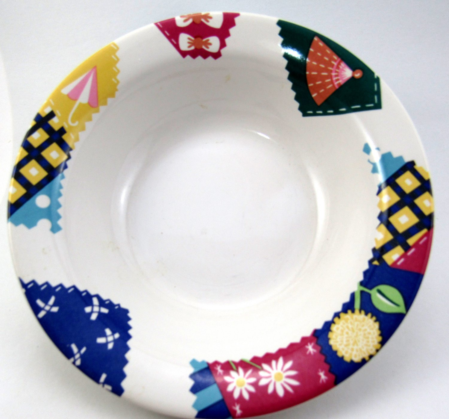 Crazy Quilt Number 103 Bowl 6 3/4 Inches International Tableworks White with Colorful Quilt Design