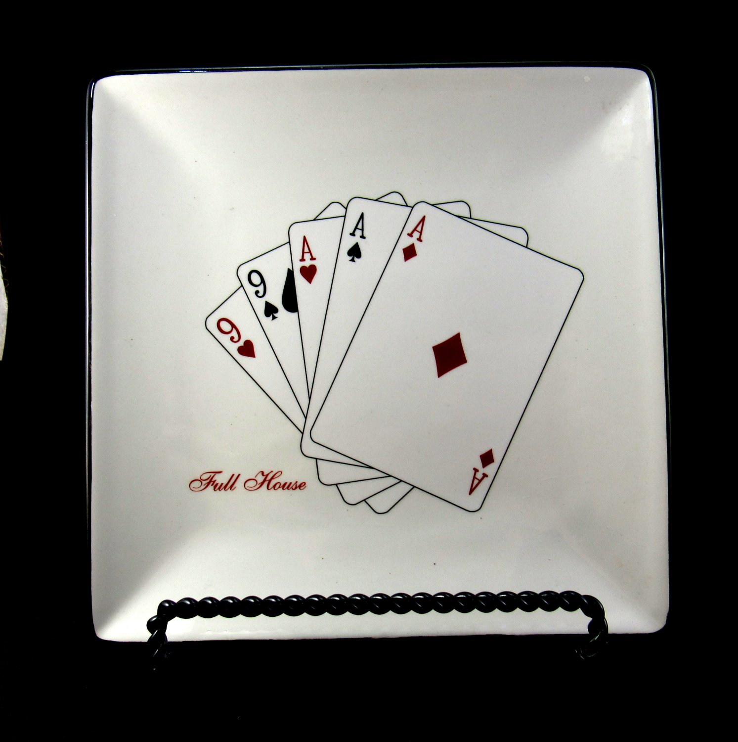 Full House Card Design Square Salad Plate By American Atelier 7 1/2 inches with Black Border
