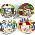 Bistro Plates Avon 1980's Set of Four 6 1/8 Inch Canapé or Dessert Size Bright Colors
