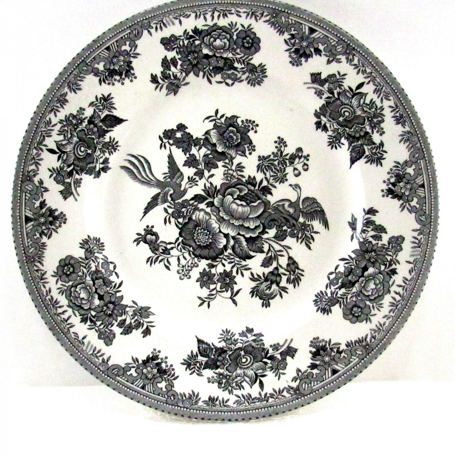 Black and White Asiatic Pheasants Plate 10 Inch Burgess & Leigh / Burleigh Pottery Made In England