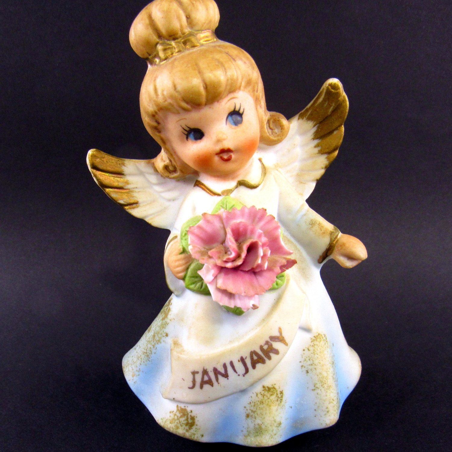 Enesco January Angel Figurine 4 1/2 Inches Gold Painted Wing Tips Original Sticker On Bottom