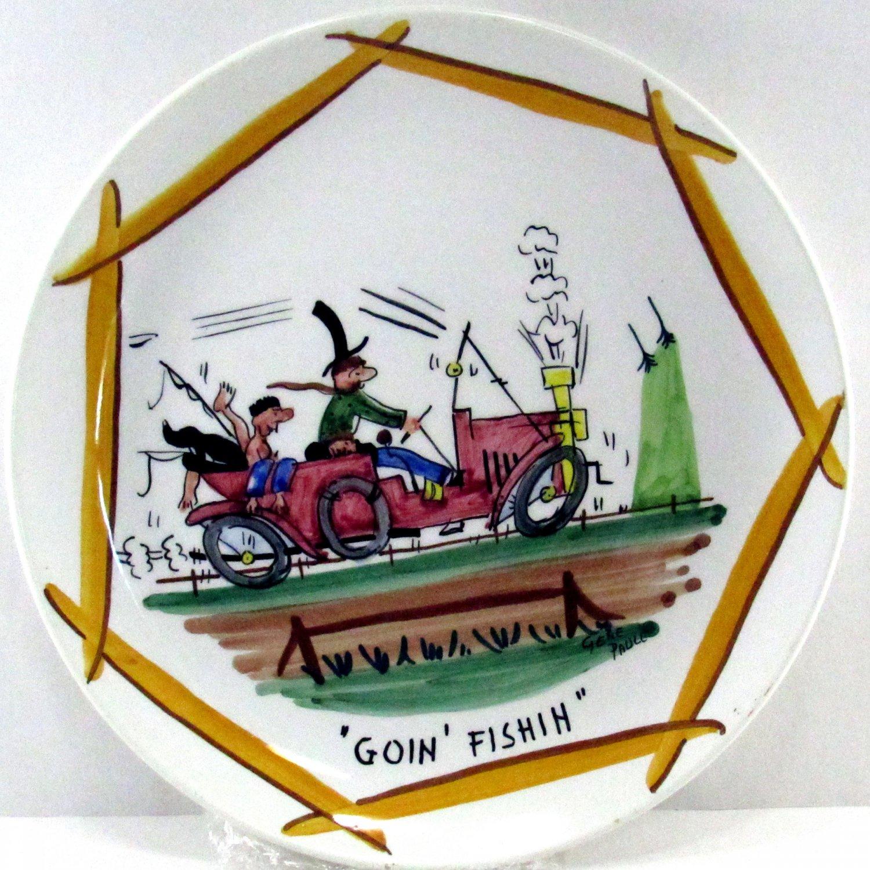 Hillbilly Series 9 Inch Plate Goin Fishin Italian Hand Painted Artist Gene Paull for TMJ&S, RARE