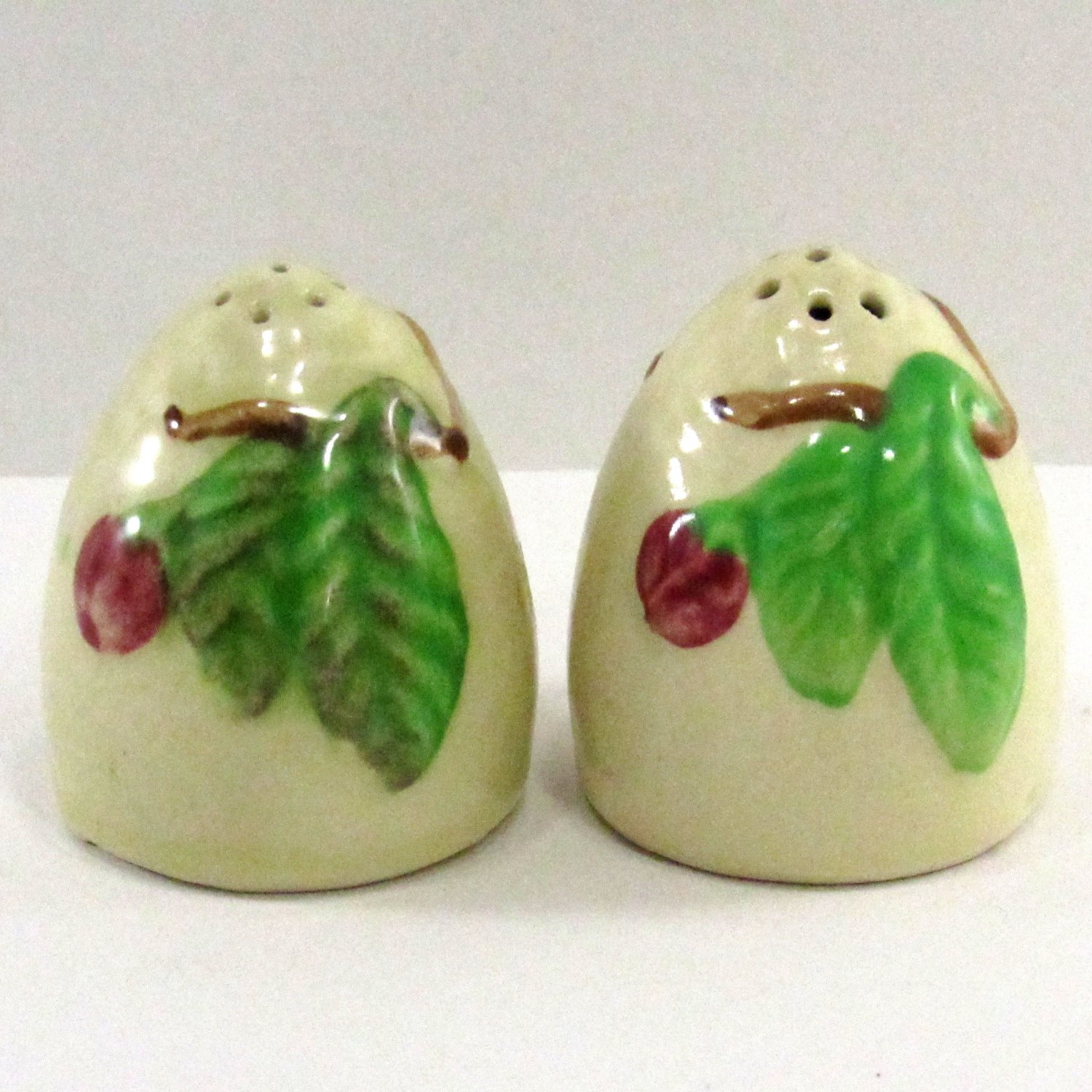 Egg Shape Salt and Pepper Shakers Made in Japan 1 3/4 inches beige color with cork stoppers
