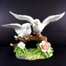 Two White Doves On A Branch Figurine Hand Painted Birds 6 Inches Pink Lavender Green