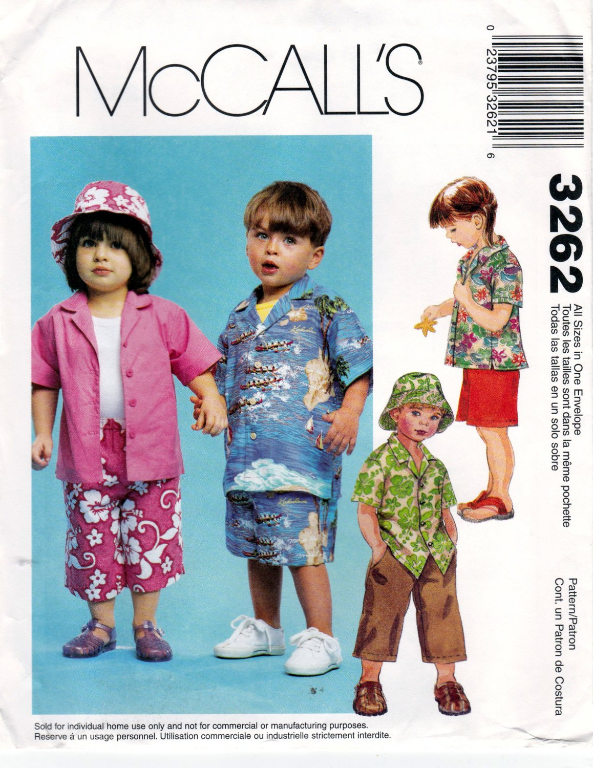 2607966002a McCall s 3262 M3262 Toddler Girls Boys Sewing Pattern Childrens Pant Short  Hat Shirt Sizes 1-4
