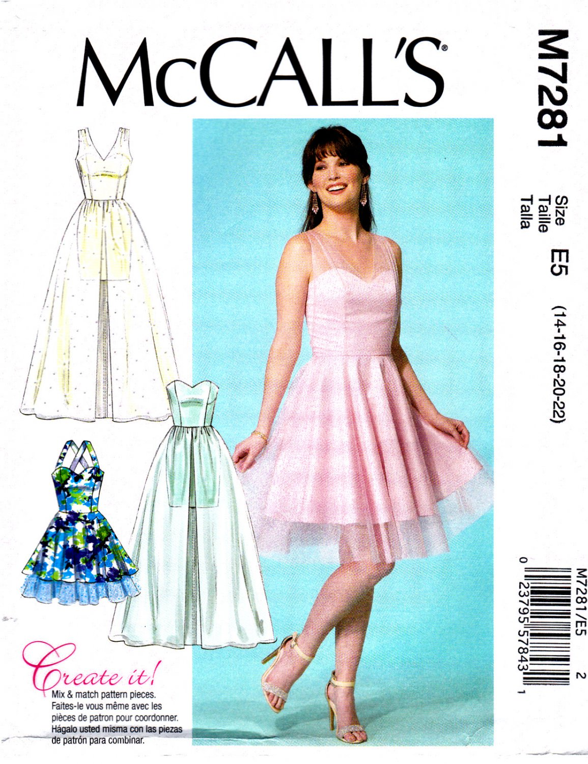 2672eb6645e McCall s M7281 7281 Womens Misses Sweetheart-Neckline Dresses Sewing  Pattern Sizes 14-22