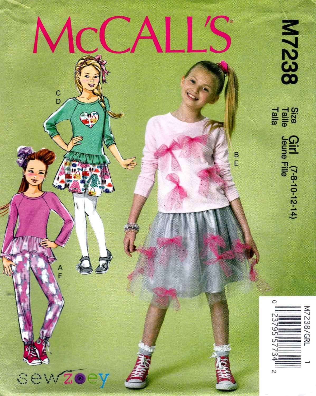 7430c5a09a7 McCall s M7238 7238 Girls Tops Skirts Pants Sewing Pattern Childrens Kids  Sizes 7-8-10-12-14