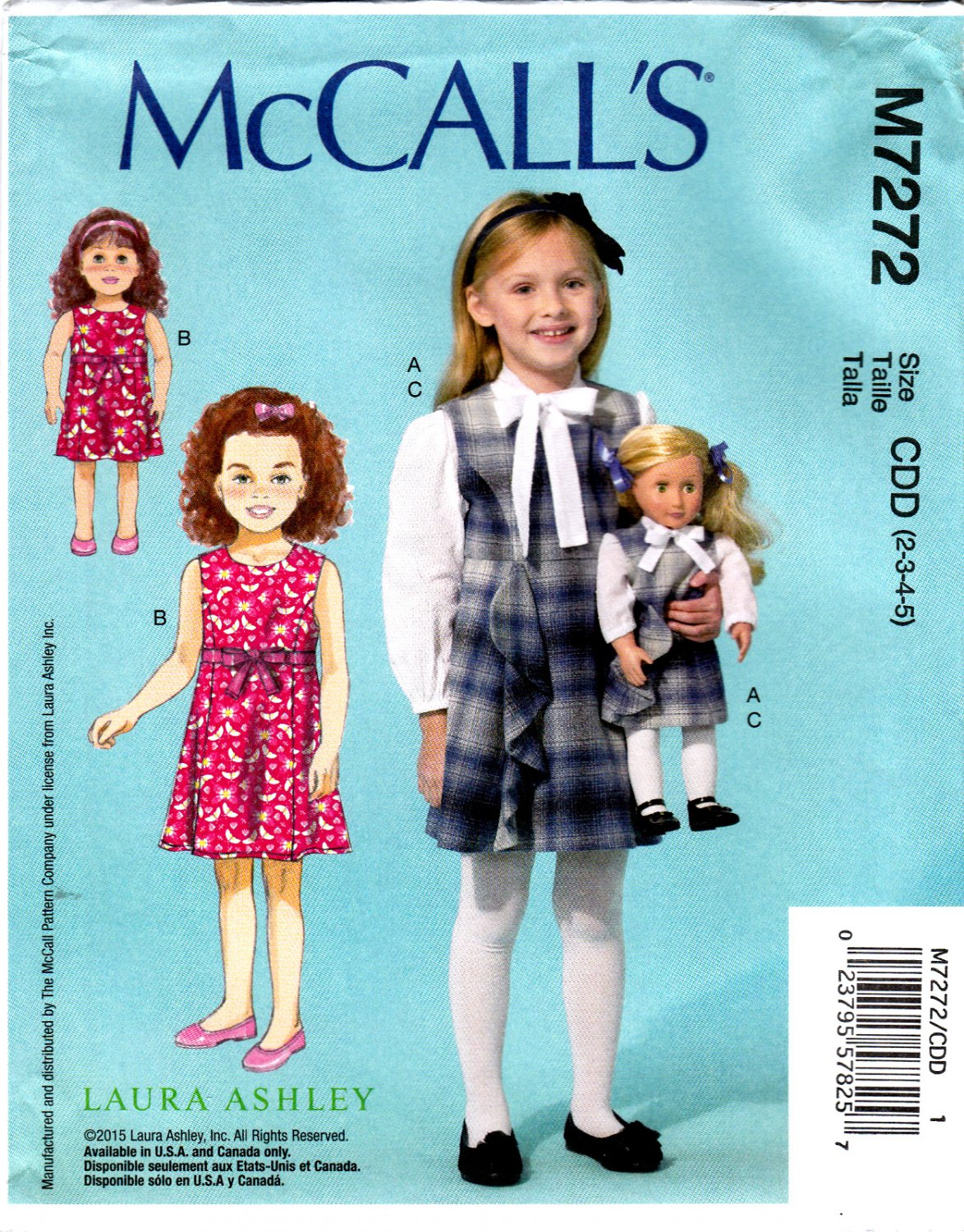 c32b5ed4bf76 McCall's M7272 7272 Girls Blouse Jumper with 18
