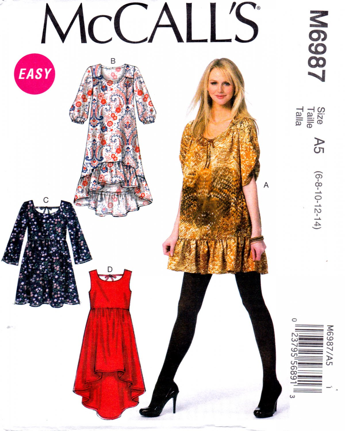 a4f095cae2e McCall s M6987 6987 Misses Pullover Dresses Sewing Pattern Sizes 6-8-10-12-14  Easy Sew