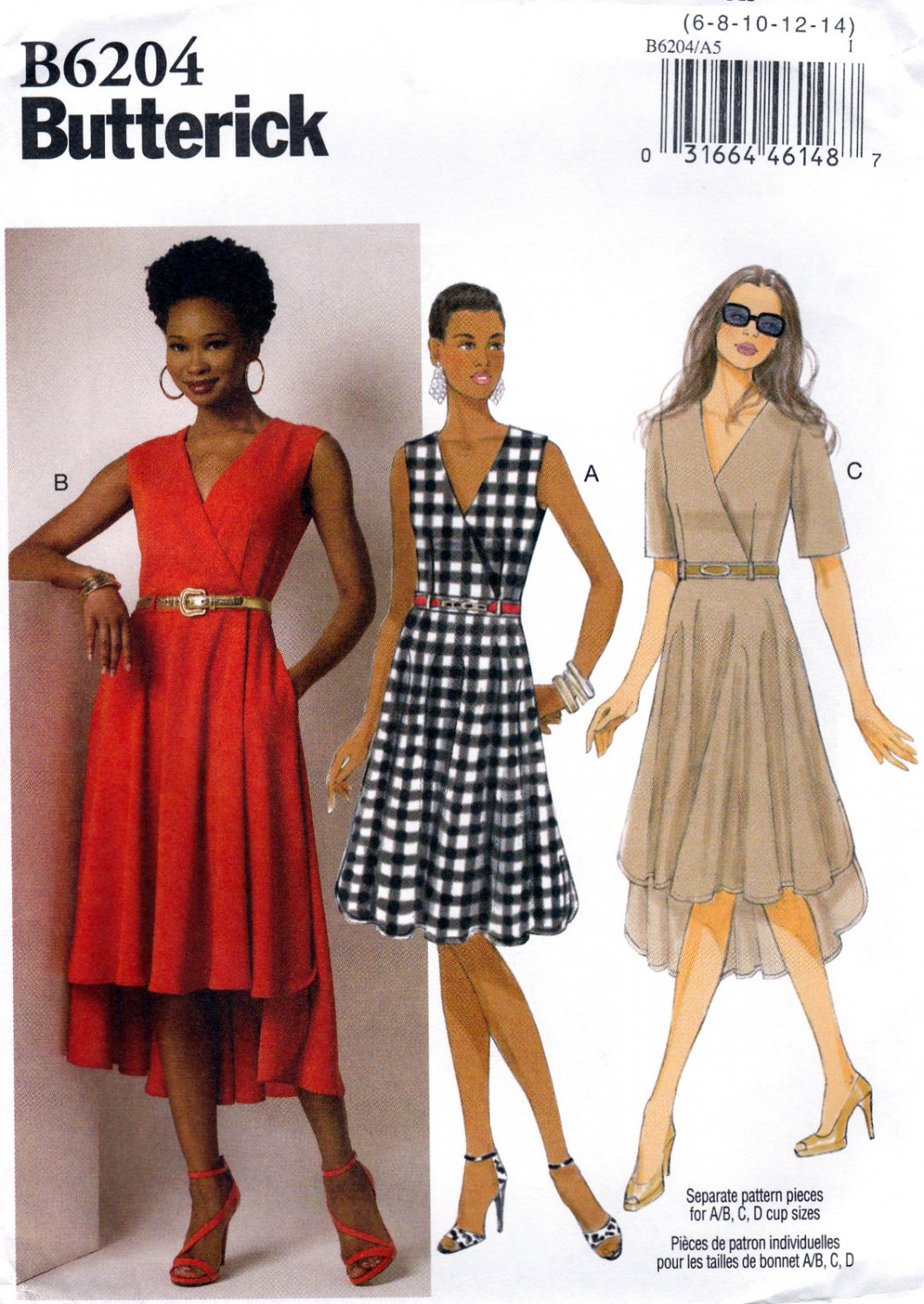 1d69eef6f62 SOLD - Butterick B6204 6204 Misses Dresses Sewing Pattern Mock Wrap Bodice Sizes  6-8-10-12-14