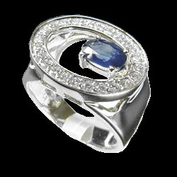 Sapphire and 0.41 Cts. Diamond 18k White Gold Ring