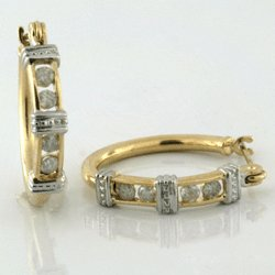 0.25 Cts. Diamond 10k Gold Earrings