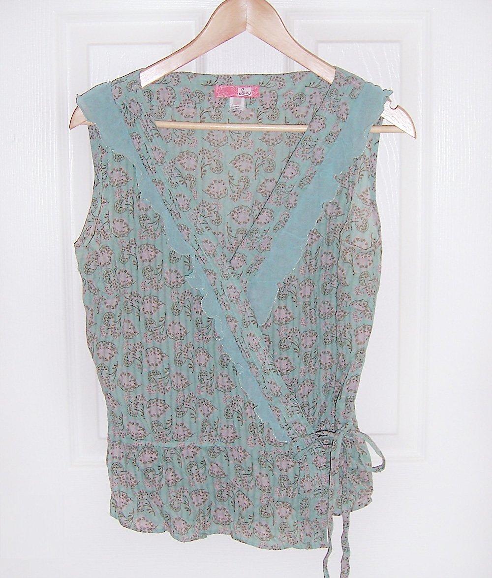 Lux sleeveless semi sheer mint green wrap top-L