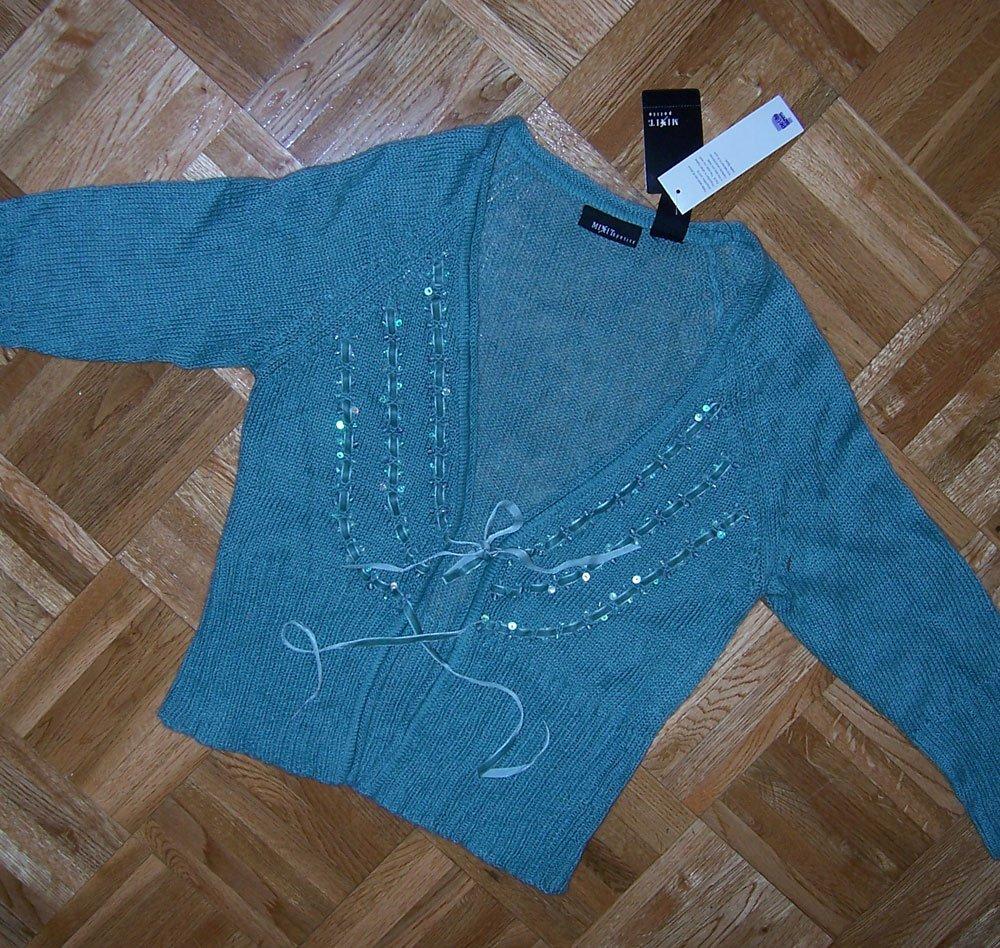 velvet ribbon embellished v neck cardigan blue