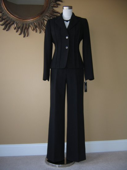 New with Tags Black Pinstripe Tahari Suit Size 12