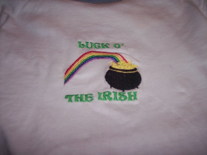Luck O the Irish Custom Embroidered T Shirt Childs