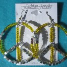 yellow peace earrings