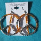 orange peace earrings