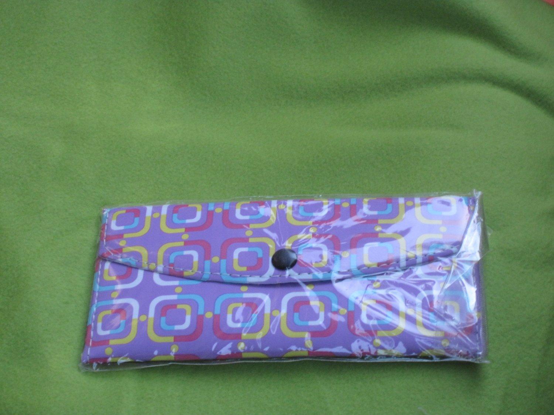 purple geometric print wallet