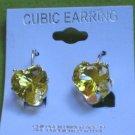 yellow CZ heart earrings