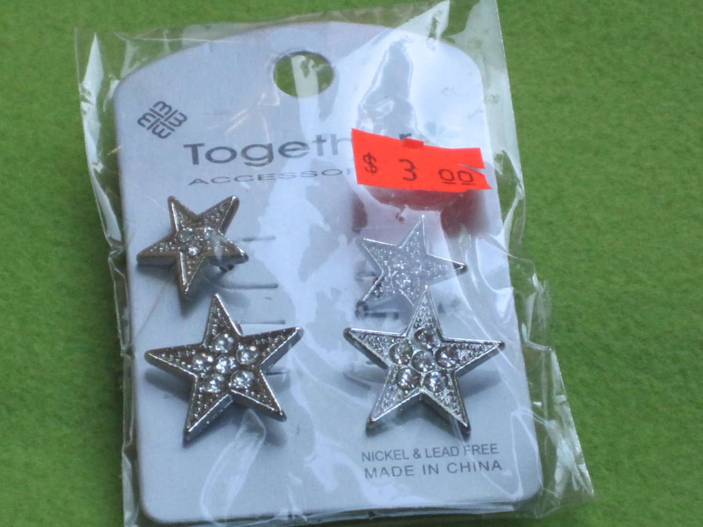 crystal star earrings - 2 pair