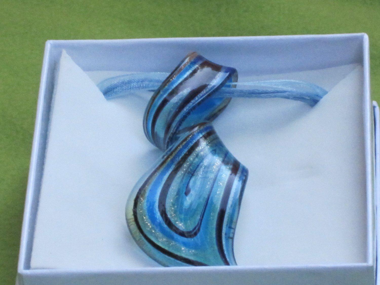 blue blown glass necklace