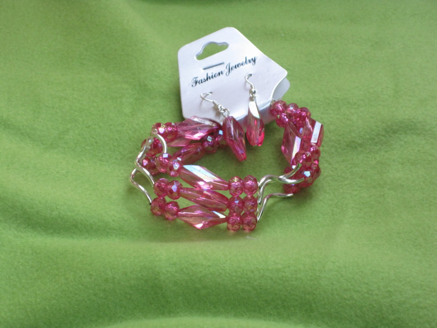 Pink Squiggle Bracelet and Earrings