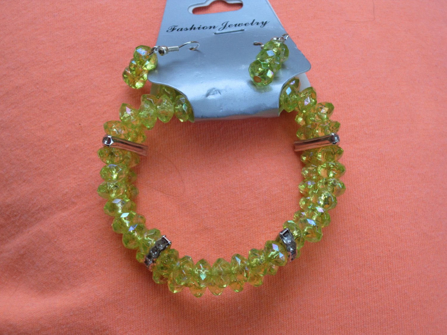 Neon Green crystal bracelet and earrings