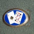 1983 Baron Solid Brass Belt Buckle Blackjack Vintage