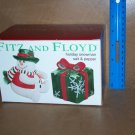 Fitz & Floyd Holiday Snowman + Present Salt & Pepper