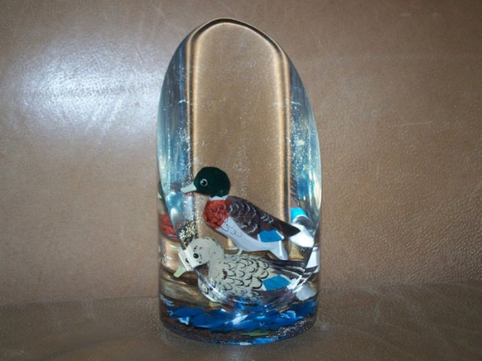 "Hand Carved Painted Wood Mallard 7"" Lucite Paperweight"