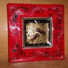 Hand Blown Art Glass Ash Tray Plate Signed Gold Fleck