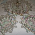 """Clear Carnival Glass 11"""" PETAL Serving Plate 2 Saucers"""