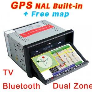 "7"" 2 Din In-Dash Car Radio DVD Player GPS Dual Zone Map-735"