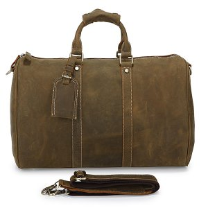 Crazy Horse Leather Unisex Dark Brown Huge Luggage Bag Tote Bag