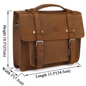 Trendy Crazy Horse Leather Laptop Handbag Messenger Bag -7050B