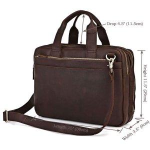 Crazy Horse Leather Men's Dark Brown Laptop Bag Handbag Briefcase Messenger bag -7092R
