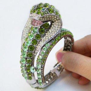 Green King Cobra Crystal Bracelet