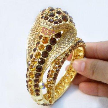 Amber & Topaz King Cobra Crystal Bracelet