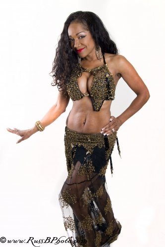 BLACK & GOLD LACE BY HALLAH MOUSTAFA BELLYDANCE COSTUME