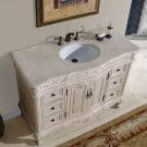 "48"" Ella - Bathroom Cream Marfil Marble Top Sink Vanity White Oak Finish Cabinet 0152"