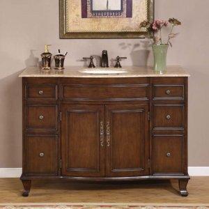 "48"" Natalie - Bathroom Vanity Single Sink Travertine Top Chestnut Finish Cabinet 0153"