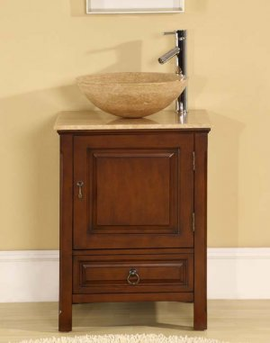 "22"" Osaka - Single Bathroom Stone Vessel Sink Vanity (American Walnut Finish) 0158"