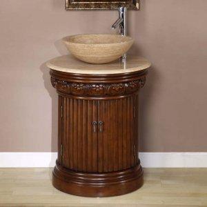 """24"""" Maya - Single Bathroom Travertine Stone Vessel Sink Top Vanity Cabinet 0160"""