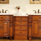 "84"" Teresa - Modular Double Sink Bathroom Vanity Cabinet Marble Stone Countertop 0204"