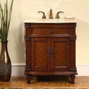 "30.5"" Sophia - Single Sink Bathroom Vanity w/ Marble Top Cherry Finish Cabinet 0205"