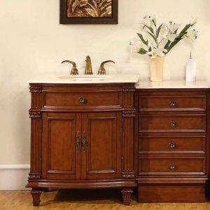 "51"" Sophia - Marble Stone Single Bathroom Sink Vanity Cabinet (Cherry Finish) 0205"