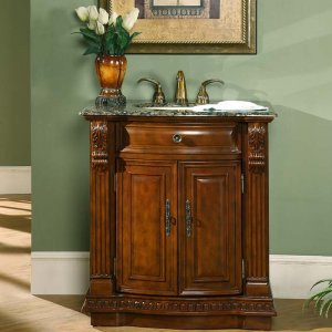 "33"" Monica - Bathroom Single Sink Vanity Granite Stone Top Cherry Finish Cabinet 0206"
