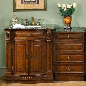 "53"" Monica - Granite Top Single Sink Bathroom Vanity Cabinet Stone + Drawer Bank 0206"